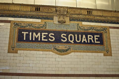 Tiimes square sign on entrance to subway Royalty Free Stock Images