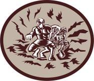 Tiitii Wrestling God of Earthquake Circle Woodcut Royalty Free Stock Photo
