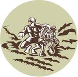 Tiitii Wrestling God of Earthquake Circle Woodcut Stock Images