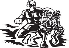 Tiitii Wrestling God of Earthquake Woodcut Stock Photography