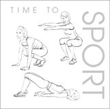 Tijd aan sport Een jonge atleet voert oefeningen uit Stock Fotografie
