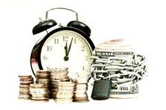 Tijd en de oude stijl van het geldconcept Stock Fotografie