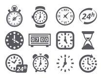Tijd en Klokpictogrammen Stock Afbeelding