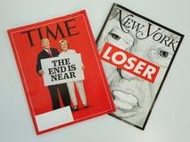 Tijd en van New York tijdschriften vóór de Presidentsverkiezing die van 2016 worden uitgegeven Royalty-vrije Stock Afbeeldingen