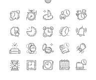 Tijd goed-Bewerkte Pictogrammen 30 van de Pixel Perfecte Vector Dunne Lijn 2x Net voor Webgrafiek en Apps Stock Foto