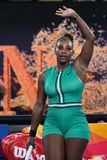 23-tijd Grand Slam-viert de Kampioen Serena Williams van Verenigde Staten overwinning na haar ronde van gelijke 16 bij Australian royalty-vrije stock fotografie
