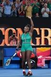 23-tijd Grand Slam-viert de Kampioen Serena Williams van Verenigde Staten overwinning na haar ronde van gelijke 16 bij Australian royalty-vrije stock afbeelding