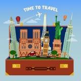 Tijd om banner te reizen Kofferhoogtepunt van Wereldberoemde Plaatsen stock illustratie