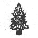 Tijd om bossen te bewaren die in naaldboomboom van letters voorzien Stock Afbeeldingen