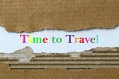 Tijd om rubriek te reizen stock foto