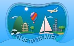 Tijd om vectorillustratie in document besnoeiingsstijl te reizen Overzeese toevluchtstad, varend jacht, pagode, ballon, eilanden, royalty-vrije illustratie