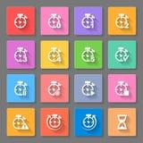 Tijd - reeks vlakke pictogrammen Stock Foto