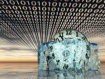 Tijd in smeltend ijs met binaire code Stock Afbeeldingen