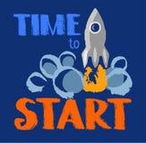 Tijd te beginnen, tekst, raket, kleurenbeeld royalty-vrije illustratie