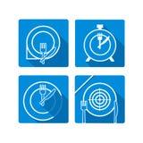 Tijd te eten Plaatschotel met vorken en knifes pictogrammen kruiselings Stock Foto's