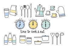 Tijd te koken en te eten Stock Foto's