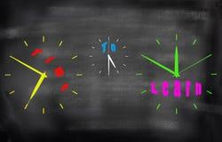 Tijd te leren - de woorden van het bedrijfsonderwijsconcept in verschillend c Stock Fotografie