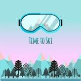 Tijd te skien Sunglass met bezinning van bergen vector illustratie