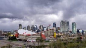 Tijd-tijdspanne van de horizon van Calgary stock footage