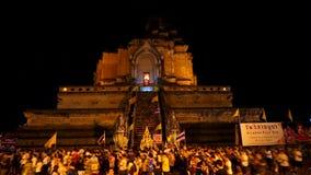 Tijd-tijdspanne van Thaise Beroemde pagodevraag Wat Chedi Luang stock footage