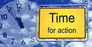 Tijd voor actie betreffende klimaat   Stock Foto