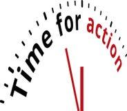 Tijd voor actieklok Stock Foto's