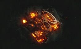 Tijd voor BBQ vurig afficheontwerp met dramatische oranje vlammen en explosieve vonken op een donkere achtergrond rond zwarte tek Stock Afbeeldingen