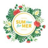 Tijd voor de zomer Bloemen en knoppen van hibiscus, bladeren en bloemen van monstera, palmen Tropisch malplaatjeontwerp met rond  Royalty-vrije Stock Afbeelding