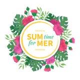 Tijd voor de zomer Bloemen en knoppen van hibiscus, bladerenmonstera en palm Tropisch malplaatjeontwerp met rond kader Royalty-vrije Stock Afbeelding