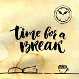 Tijd voor een onderbrekingsillustratie voor sociale media, bureauaffiches Positieve herinnering om een pauze op het werk te maken stock illustratie