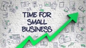 Tijd voor Kleine die Onderneming op Witte Brickwall wordt getrokken stock illustratie