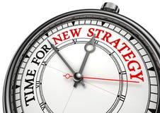Tijd voor nieuwe strategie op klok Stock Afbeeldingen