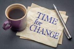 Tijd voor veranderingsnota stock foto
