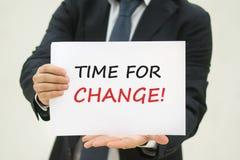 Tijd voor Veranderingstekst op papier Royalty-vrije Stock Fotografie