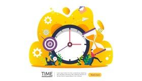 tijdbeheer en uitstelconcept planning en strategie voor bedrijfsoplossingen met klok, kalender en uiterst kleine mensen vector illustratie