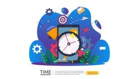 tijdbeheer en uitstelconcept planning en strategie voor bedrijfsoplossingen met klok, kalender en uiterst kleine mensen royalty-vrije illustratie