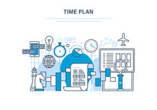 Tijdbeheer, planning, analyse, onderzoek, marketing strategie en bedrijfsstrategie stock illustratie