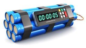 Tijdbom met elektronische tijdopnemerklok Stock Foto