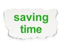 Tijdconcept: Besparingstijd op Document achtergrond Stock Foto's