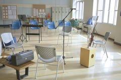 Tijdelijk muziekklaslokaal in gymnastiek 1 stock afbeelding