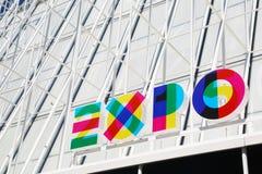Tijdelijke structuur om informatie te verstrekken over EXPO, Milaan Royalty-vrije Stock Afbeelding