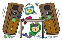 Tijdens aardbeving vector illustratie