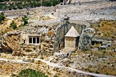 Rots-besnoeiing graf complex in Jeruzalem, Israël Stock Foto