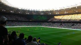 Tijdens een voetbalspel krasnodar stadion Stock Fotografie