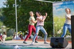 : Tijdens festivalgebeurtenissen gewijd aan 69ste verjaardag van de vorming van Nikolskiy van de stedelijk-typeregeling op de riv Stock Afbeeldingen