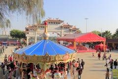 Tijdens het de lentefestival van 2016, bidden de mensen en spelen bij chigong Stock Afbeelding
