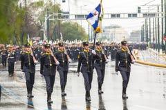 Tijdens Militaire parade voor de Onafhankelijkheid van Griekenland is de Dag een jaarlijkse nationale feestdag Royalty-vrije Stock Afbeelding