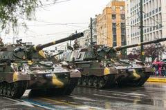 Tijdens Militaire parade voor de Onafhankelijkheid van Griekenland is de Dag een jaarlijkse nationale feestdag Royalty-vrije Stock Foto