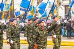 Tijdens Militaire parade voor de Onafhankelijkheid van Griekenland is de Dag een jaarlijkse nationale feestdag, op deze dag Stock Foto's