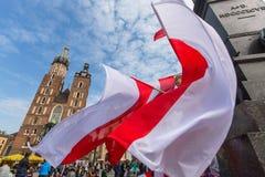Tijdens Vlagdag van de Republiek van Pools - is nationaal die festival door het Akte van 20 Februari 2004 wordt geïntroduceerd Royalty-vrije Stock Afbeelding